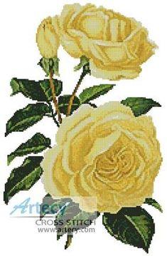 Yellow Roses cross stitch pattern.