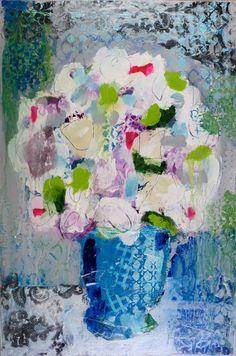 Blue Vase 36x24 mixed media Jules Place 617- 542-0644
