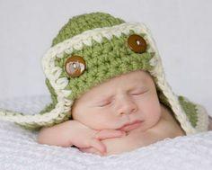 Green Baby Aviator Hat-
