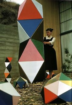 Ray Eames with an early prototype version of 'the toy' (1951)