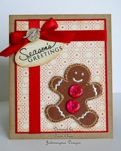 """gingerbread card **** SU """"Scentsational Season"""" stamp image & """"Holiday Collection"""" Framelits Dies, 2012 Holiday Mini."""