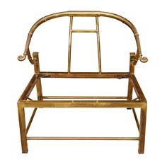 Brass Armchair By Mastercraft  USA  circa 1960s  Polished brass Asian modern style lounge chair by Mastercraft.