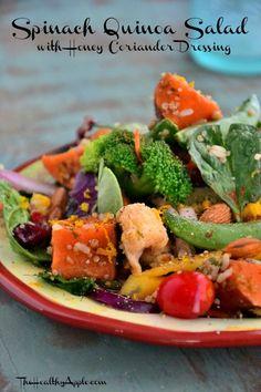 Spinach Quinoa Salad with Honey Coriander Dressing {Gluten-Free, Dairy-Free, Vegetarian} #glutenfree