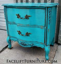turquoise-french-nightstand on Facelift Furniture  http://www.faceliftfurniture.com/wp-content/gallery/turquoise-furniture/turquoise-french-nightstand.jpg
