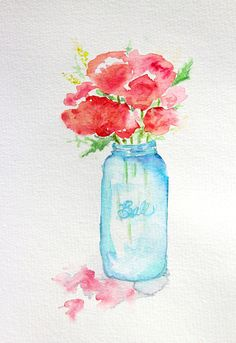 Ball Jar watercolor  Art Print I've done one of these… In a much more tiny version. ;)