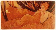 Alphonse Mucha alphons mucha, artworks, sunsets, bed, artist, art deco, posters, art nouveau, alphonse mucha
