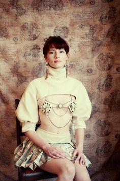 Cute exotic nipple pastie jewellery Elizabell - Steampunk / Art Nouveau / Burlesque