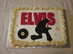 """Elvis Presley Birthday Cake - Elvis silhouette with famous red light """"Elvis"""" sign behind him.  Elvis was cut out of fondant, everything else was buttercream.  The back side of the cake read """"Hunka Hunka Happy Birthday"""""""