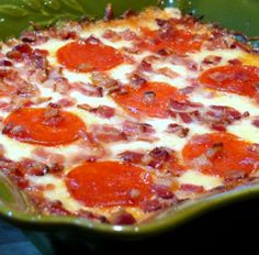 4 Layer Pizza Dip - with bacon! Need to add black olives