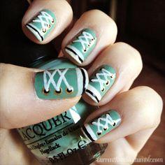 Aqua sneaker nails cool!