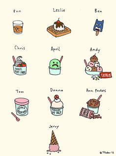 Parks and Rec characters if they were ice-cream