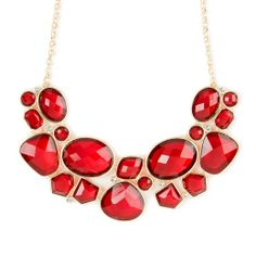 Red Geometrical Translucent Stones Statement Necklace by Icing