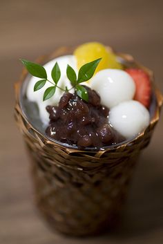 Shiratama Dango Dumplings and Sweet Azuki Red Bean Cream