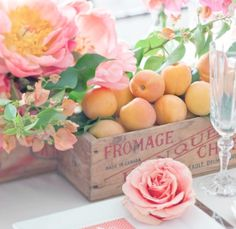 Cheese crate with fruit and flower centerpiece summer flowers, flowers and crates, color schemes, colors, summer parties, fruit and flower centerpieces, homes, blog, wooden crates