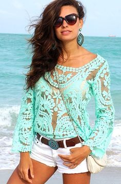 Fabulous mint lace top with white shorts! Perfect for summer! Women's teen spring summer fashion clothing outfit boho