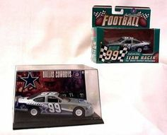 """1999 Taurus Dallas Cowboys Diecast Car by ERTL. $9.99. 4 1/2"""" Long (1:43 Scale). Authentic NFL Team Colors and Logos. Includes a plastic display case and team trading card.. Officially Licensed by the NFL & Ford Motors. From the ERTL TEAM RACER SERIES, this MINT IN BOX collectible from 1999 is 1:43 SCALE and 5"""" long by 3"""" wide in its display . A great team and a great car!"""