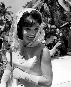 Jackie Kennedy in a white lace mantilla
