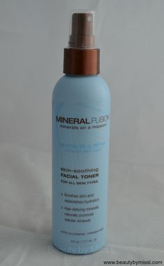 Mineral Fusion Skin-Soothing Facial Toner review via @beautybymissl