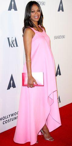 Celebrity bump watch: Zoe Saldana is radiant in a pink Dior dress