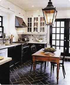 black kitchen floors, black cabinets kitchen, black cabinets white uppers, kitchen black and white floor, black doors, black and white cabinets, black painted kitchen cabinets, kitchen design, white kitchens