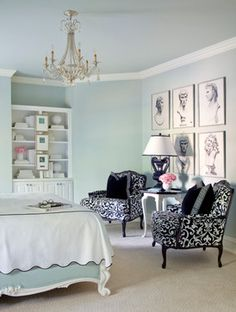 I like the deep black against the sea green color in the Shadow Valley guest bedroom. TobiFairley.com