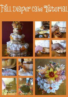 Fall Baby Shower Diaper Cake Tutorial #diy