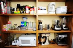 appliances in the pantry instead of in a jumbled-up messy cabinet.