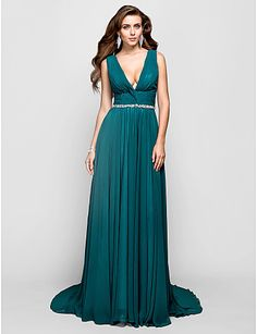 vneck sweepbrush, evening dresses, ball, lake blue, blue prom