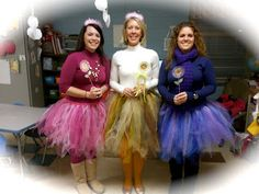 Such Cute Teacher Costumes:  Purplelious, Pinkalisous and Goldilisous