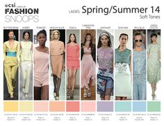 Womenswear for the Spring/Summer 2014 season from Fashion Snoops. pastels, mood boards, seasons, colors, springsumm 2014, screens, fashion looks, eyes, color trends