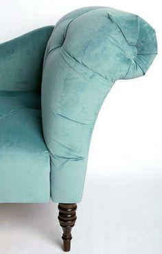 blue/grey velvet sofa