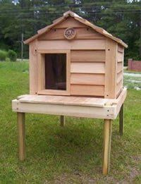 Outside Cat House - 20 Inch Cedar Cat House with Platform : Size SMALL CEDAR WITH PLATFORM - INSULATED  by Blythe Woodworks  - Price: $370.00 -  #outdoorcathouse #outsidecathouse #catoutsidehouse #cat #outdoor #outside #house http://www.catbedandtoy.com/outdoorcathouse