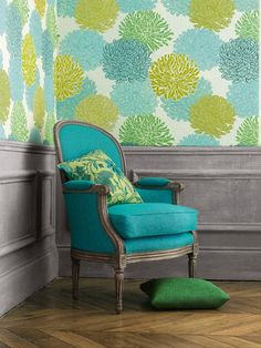 blue and green wallpaper, turquoise chair