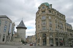 Rue du Donjon - Rouen (France). the Joan of Arc Tower is seen on the Left