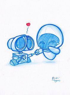 Really cute Wall-e and Eva fan art! Daily Doodle #7: Wall-e! By PodgyPanda, via Flickr