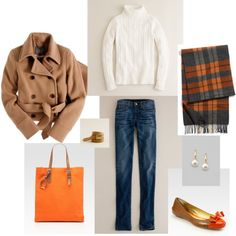 Classic With a Shot of Orange, created by #bluehydrangea on #polyvore. #fashion #style J.Crew Kate Spade
