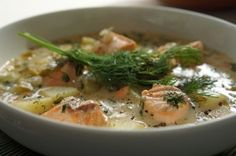 Finnish Salmon Soup – Lohikeitto - simple, easy to make and delicious - recipe at http://www.alternativefinland.com/finnish-salmon-soup-lohikeitto/