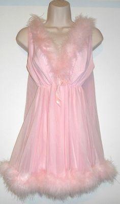 Vtg Figurettes Sissy Pink Nylon Marabou Baby Doll Nightgown Panty Set Large | eBay