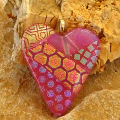 Valentine Jewelry Fused Glass Heart Pendant  Patchwork by GlassCat, $28.00