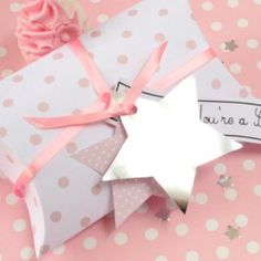 pillow box, star, gift tags, parti
