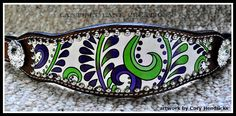 custom hand painted bronc noseband/lime green and purple