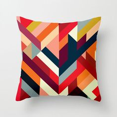Right Angles Pillow Cover in Red