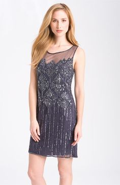 Pisarro Nights Beaded Illusion Cocktail Dress available at #Nordstrom
