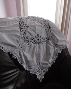Beautiful vintage white handmade linen with lace -- German handmade linen