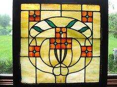 Art Nouveau Stained Glass Window CA 1910   eBay