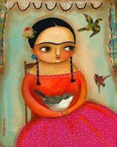 Frida Kahlo by Tascha  on http://www.etsy.com/listing/55650242/frida-kahlo-birds-print-of-an-original