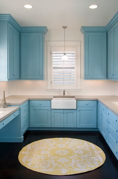 Laundry Room #blue #cabinet