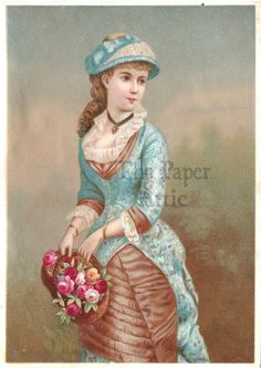 5x7 Victorian Woman in Blue w/ Rose Basket Antique French Chromo Illustration