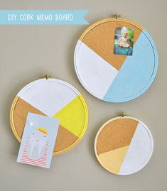 DIY Cork Memo Board Made Using Embroidery Hoops - for office