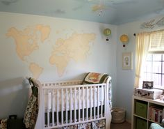 Travel Themed Gender Neutral Nursery with World Map